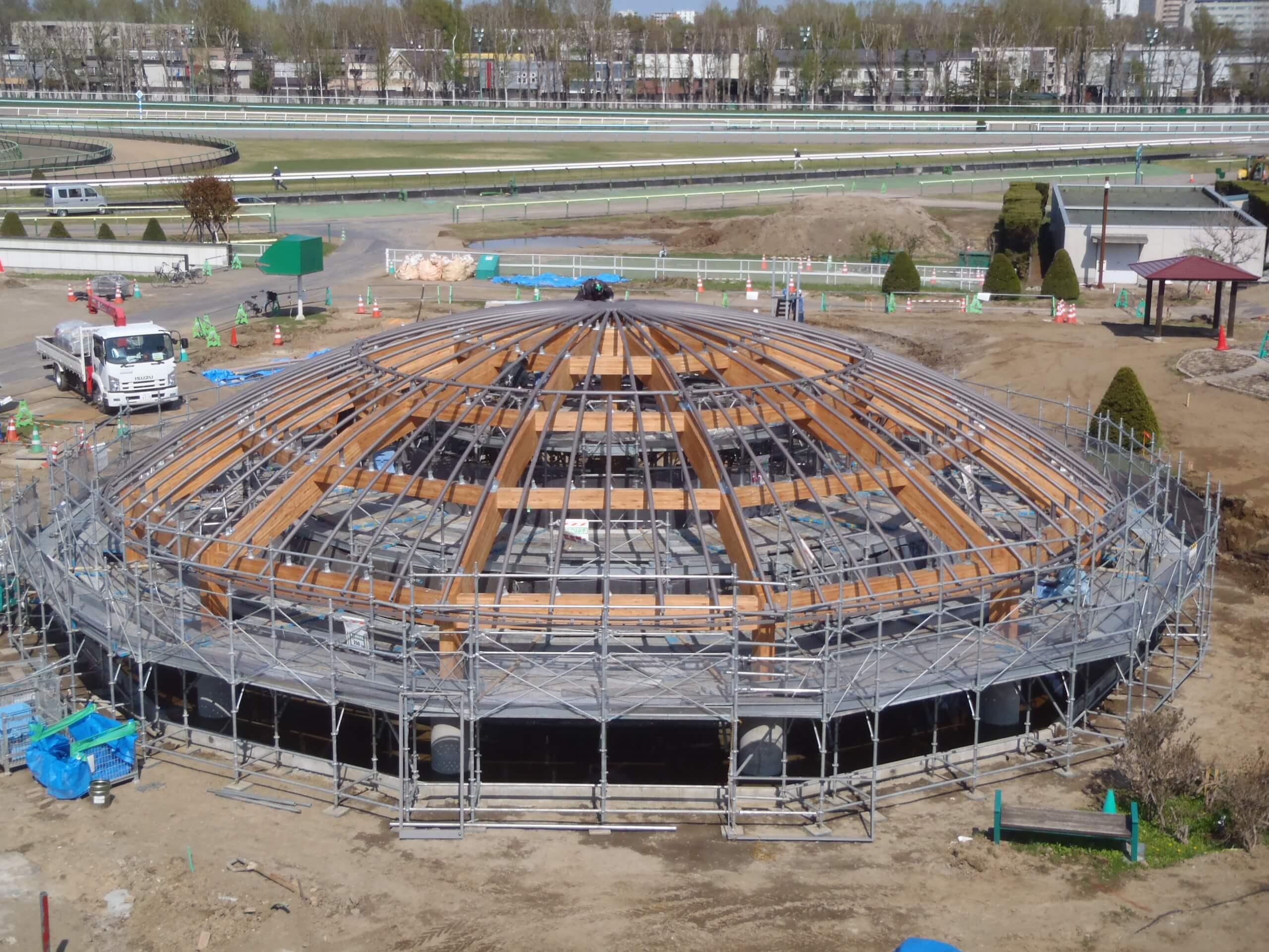 木造建築の施工事例:JRA札幌競馬場 附属施設(はるにれドーム) 3枚目