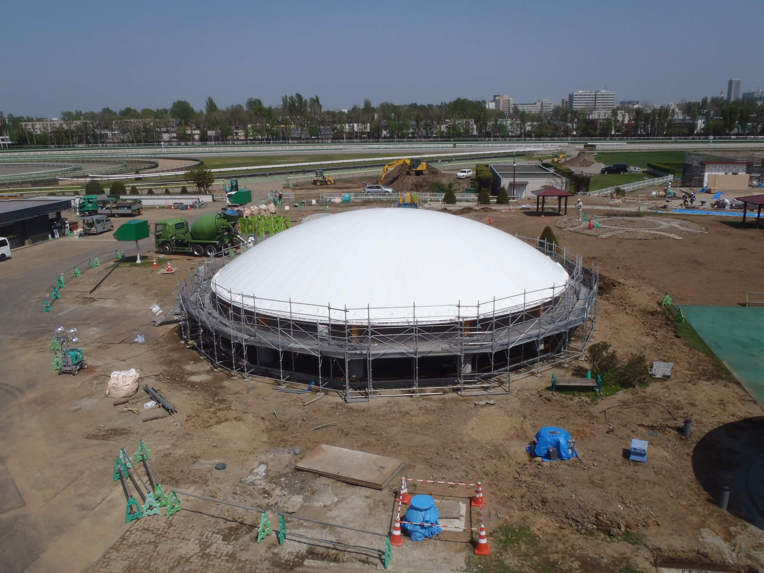木造建築の施工事例:JRA札幌競馬場 附属施設(はるにれドーム) 4枚目