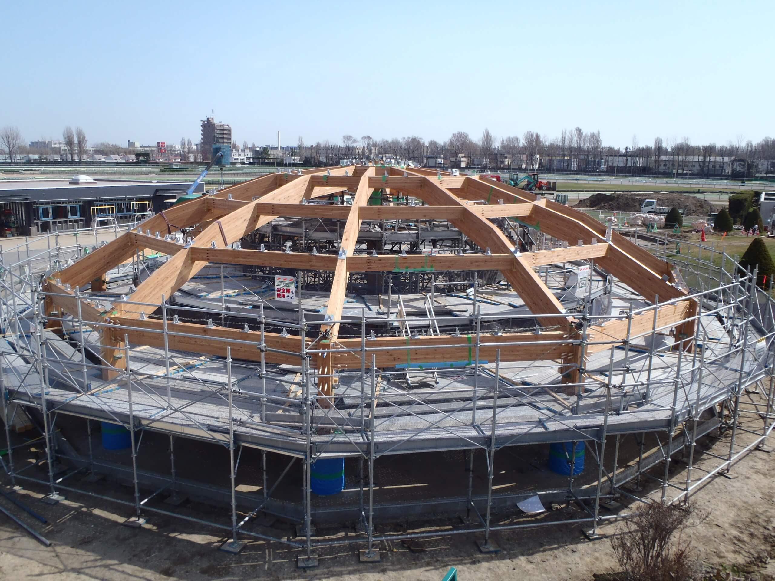木造建築の施工事例:JRA札幌競馬場 附属施設(はるにれドーム) 2枚目