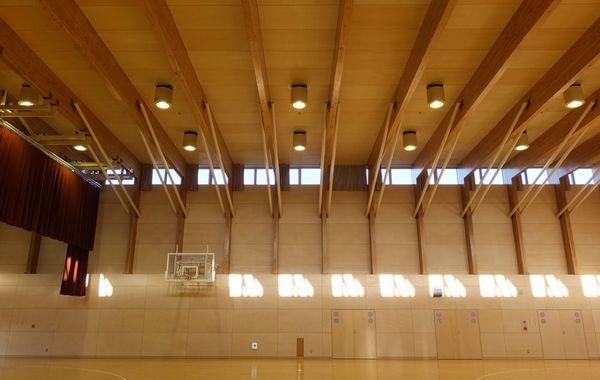 木造建築の施工事例:広島県立広島学園(屋内運動場) 2枚目